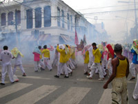 the processions are accompanied by firecrackers